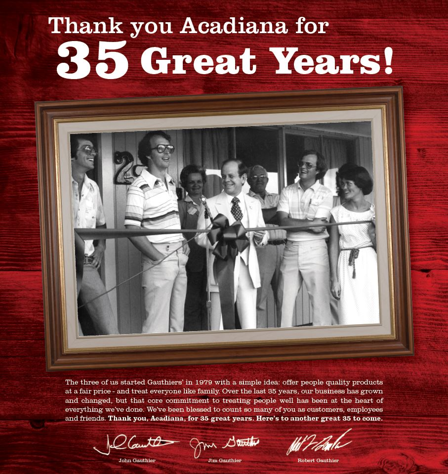 Thank you, Acadiana - for 35 great years'